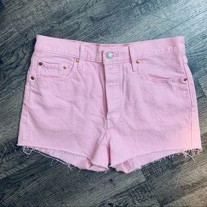 New Pink Levis Denim High Waisted 501 Shorts SZ 29